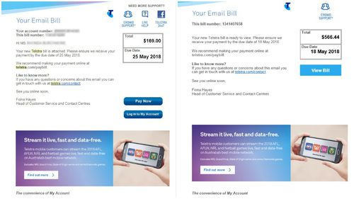 A legitimate Telstra phone bill (left) and a malware hoax (right). (Supplied)