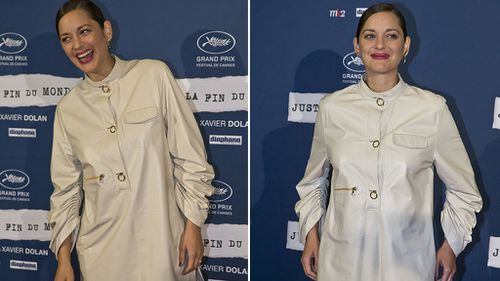 Pregnancy rumours flew last week when Cotillard attended a premiere in this outfit. (AAP)