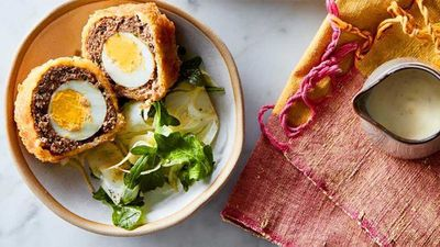 "Recipe:&nbsp;<a href=""http://kitchen.nine.com.au/2016/07/25/11/58/baked-lamb-scotch-eggs-with-lime-aioli"" target=""_top"" draggable=""false"">Baked lamb Scotch eggs with lime aioli</a>"