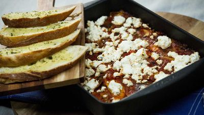 """Recipe: <a href=""""https://kitchen.nine.com.au/2017/11/03/16/31/family-food-fight-the-panayides-familys-vegetable-stack-with-feta-and-herb-bread"""" target=""""_top"""">Family Food Fight: The Panayides Family's vegetable stack with feta and herb bread</a>"""
