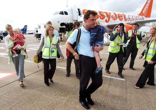 Kate and Gerry McCann, with twins Sean and Amelie, arrive at East Midlands airport in England in September 2007, after leaving Portugal.