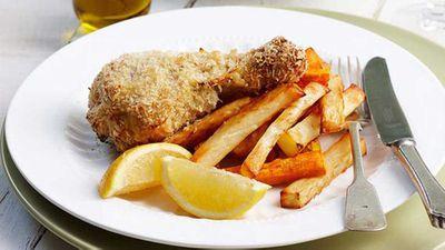 """Recipe:&nbsp;<a href=""""http://kitchen.nine.com.au/2016/05/16/12/07/crispy-lemon-chicken-drumsticks-and-chips-for-1280"""" target=""""_top"""">Crispy lemon chicken drumsticks and chips</a>"""