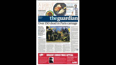 <em>The Guardian</em> ran 'Over 150 dead in Paris carnage'.