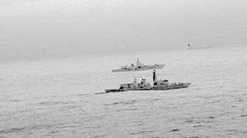 Royal Navy frigate HMS St Albans escorts a Russian warship through the North Sea and areas of UK interest on Christmas Day. (AAP)