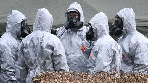 Forensic officers on the scene of the attack in Salisbury, England, on March 4. Picture: AAP