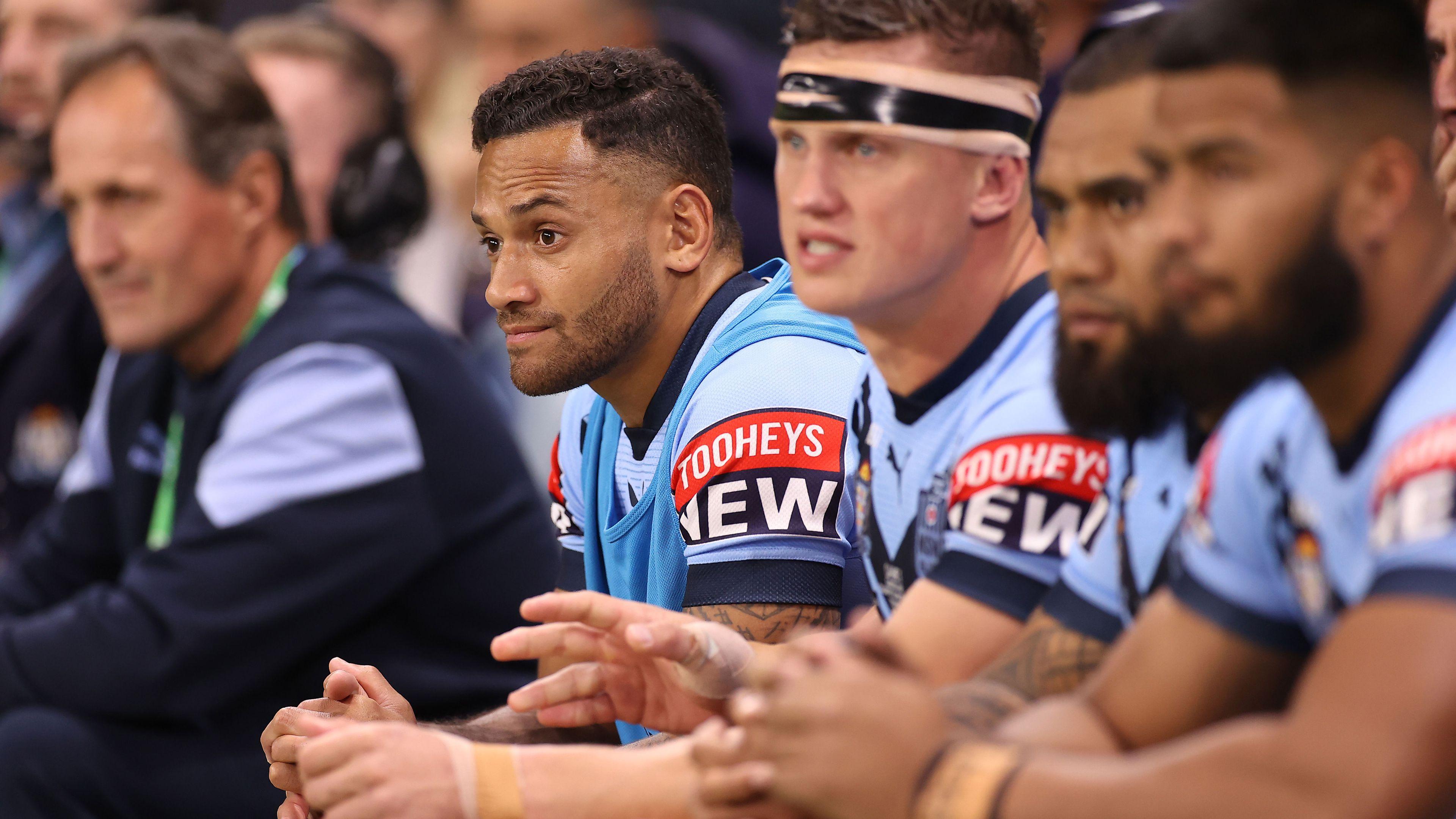 Apisai Koroisau sits on the NSW bench in Origin III.