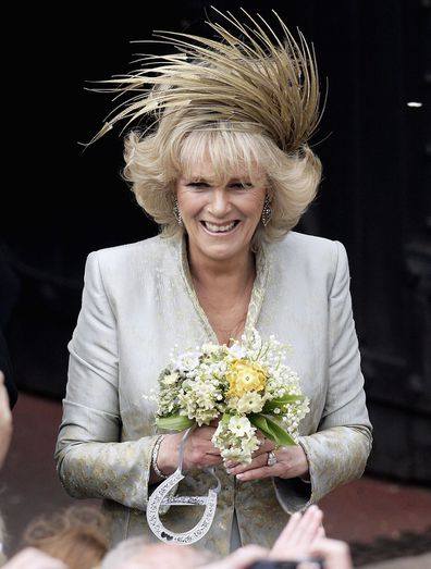 Camilla meets the crowd following her marriage to Prince Charles at Windsor Castle in 2005.