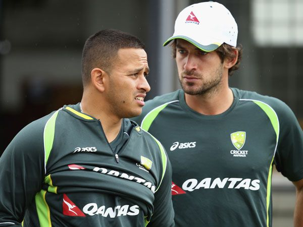 Usman Khawaja and Joe Burns. (Getty)