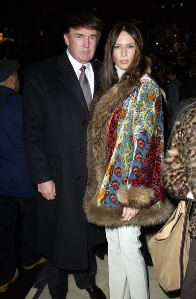 Donald Trump and Melania at Oscar de la Renta, Mercedes-Benz Fashion Week autumn/winter '03 in New York City.