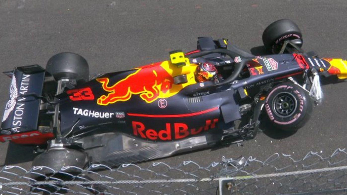 Max Verstappen crashes out as Daniel Ricciardo records fastest practice time at Monaco GP