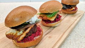 Lamb and haloumi sliders with spiced raw beetroot and cashew dip