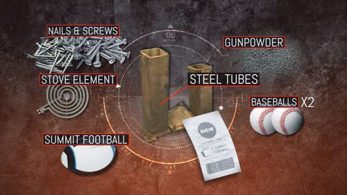 The elements in the homemade bomb.