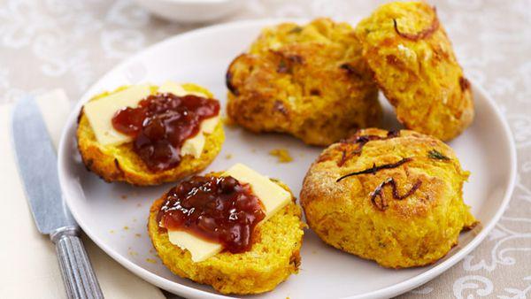 Pumpkin & caramelised onion scones