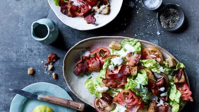 "Recipe: <a href=""http://kitchen.nine.com.au/2017/08/02/16/57/blt-salad-with-bacon-fried-croutons"" target=""_top"">BLT salad with bacon-fried croutons</a>"