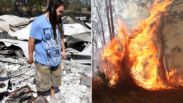 Liam McKenzie inspects the remains of his house which was destroyed by bushfires in Rappville, NSW, Thursday, October 10, 2019. Several properties were lost when an out-of-control bushfire swept through the northern NSW village. (AAP Image/Dan Peled) NO ARCHIVING