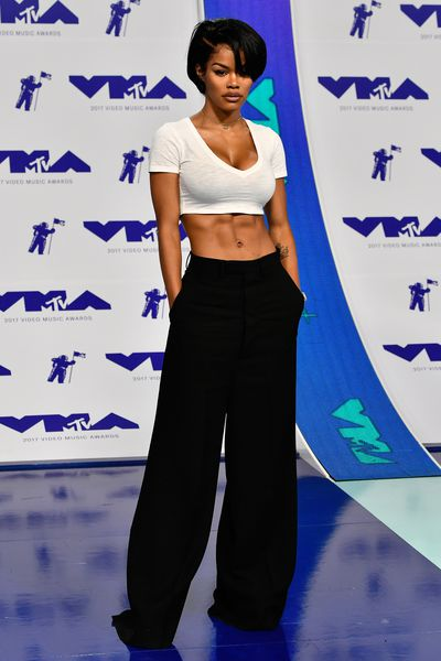 Teyana Taylor in Rick Owens pants and a Distracted D top at the MTV VMAs on August 27, 2017.