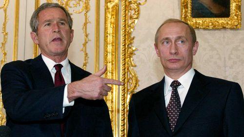 Presidents George W Bush and Vladimir Putin in 2002. (AAP)