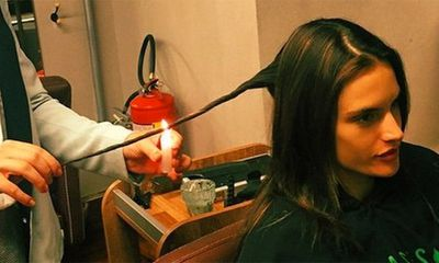 Alessandra Ambrosio's hair burning
