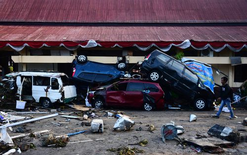 Devastated Palu in the wake of the disaster.
