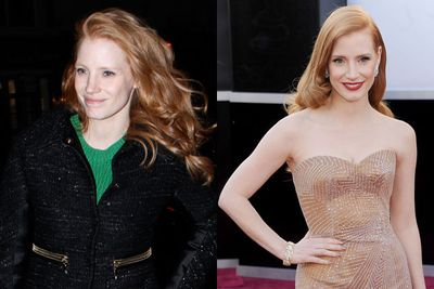 A slap of lippy and a well fitted gown is all this red-headed beauty needed.