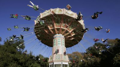 Jackson allowed guests to enjoy the rides set up across his property. (AAP)