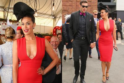 Va-va-voom! New mum Megan Gale sizzled in red, with her Richmond footy player boyfriend Shaun Hampson as her handsome date.<br/><br/>Image: Getty