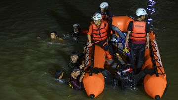 A frantic rescue mission was launched on a river in Ciamis, West Java, after more than 20 students slipped in during an excursion.
