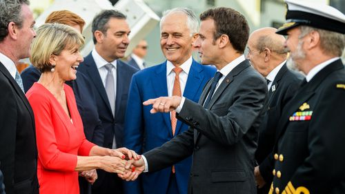Julie Bishop, meeting Emmanuel macron, above, is Australia's first female foreign minister.