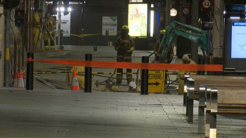 This excavator struck the high pressure gas main during construction work for the new metro rail line. Picture: 9NEWS
