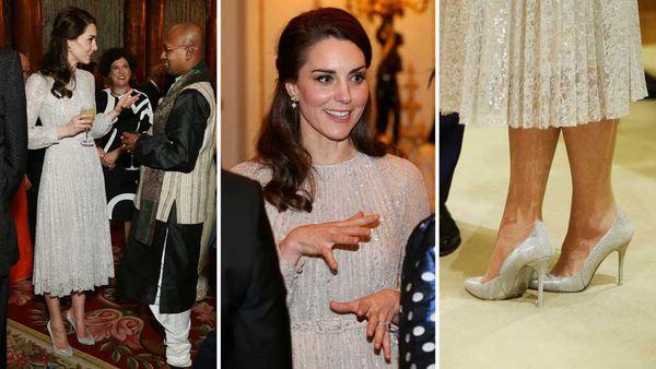 Duchess Kate wearing an Erdem dress and Oscar De La Renta heels. (PA Wire)