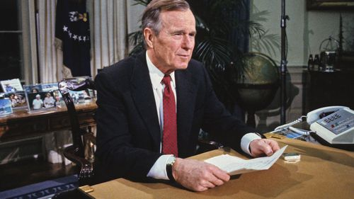 A humble hero of World War II, Mr Bush presided over the presidency during the end of the Cold War.