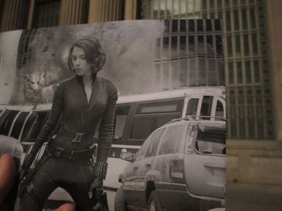 Scarlett Johansson outside Grand Central Terminal in <I>The Avengers</I> (2012). (Christopher Moloney)