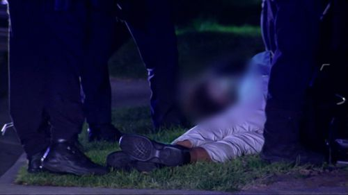 A man was arrested at the scene and held by police on the nature strip.