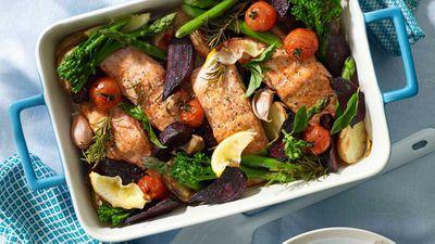 "Recipe:&nbsp;<a href=""http://kitchen.nine.com.au/2017/06/08/12/21/one-pot-salmon"" target=""_top"">One pot salmon</a>"