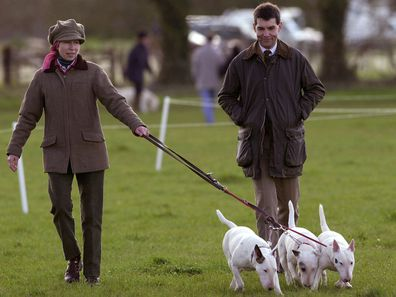 Princess Anne and her bull terriers.