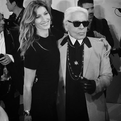 <p>Gisele&nbsp;Bündchen and Karl Lagerfeld.<br></p>