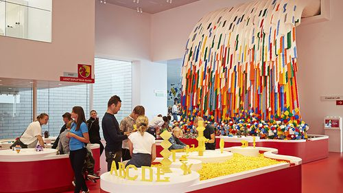 A waterfall made entirely of Lego bricks inside the building. (Lego)
