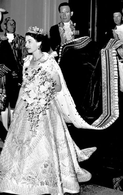 The Queen at her coronation in 1952.