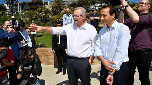 Scott Morrison campaigning with Dave Sharma.