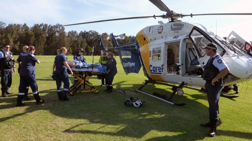 The man was welding a beer tank yesterday afternoon at Kincumber, on NSW's Central Coast, when there was an explosion. (CareFlight)