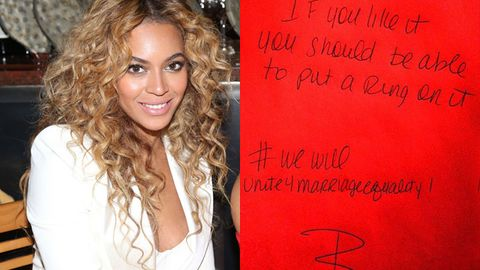 beyonce / same sex marriage note