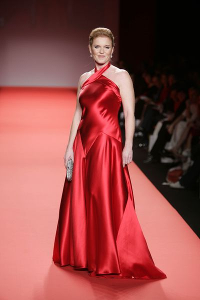 Sarah Ferguson walks the runway at the Heart Truth Red Dress Collection during the Olympus Fashion Week at Bryant Park February 4, 2004 in New York City.