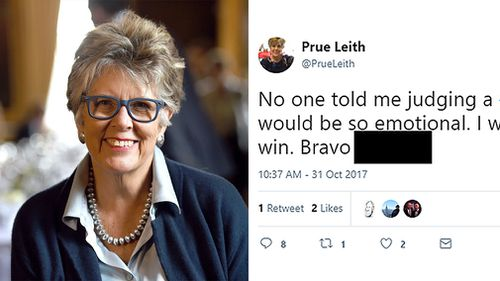 Prue Leith accidentally revealed the winner of this year's Great British Bake Off in a tweet before the finale. (AAP)