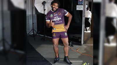 "Broncos player Sam Thaiday joked around after arriving in Sydney for the grand final. ""I didn't know what they meant when they said bring your boots,"" he tweeted with this image. (Twitter / @samthaiday)"