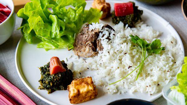 Samadi's Lamb Spinach Rhubarb Ricotta Rice