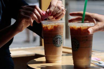 <strong>Starbucks frappuccinos (25.5 grams of sugar)</strong>