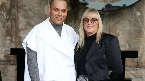 Debbie Kilroy with her son Joshua at Australian fashion week in Sydney.