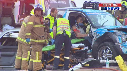 It's believed the ute was travelling at speeds of 100km/h when it crashed into a taxi and two other vehicles. (9NEWS)