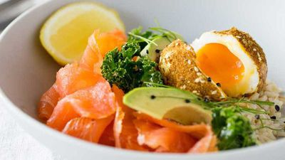 Cold smoked salmon and dukkah eggs breakfast bowl