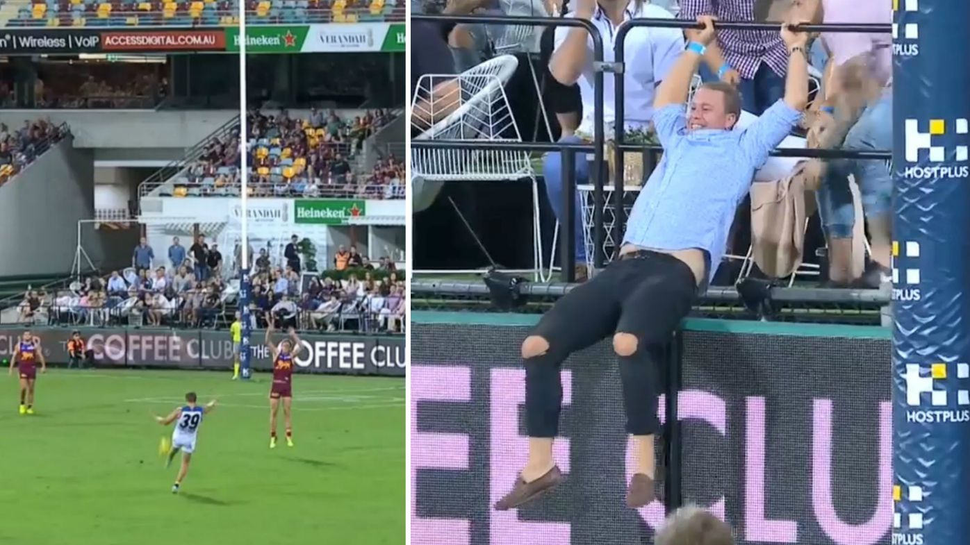 Punter flips over railing